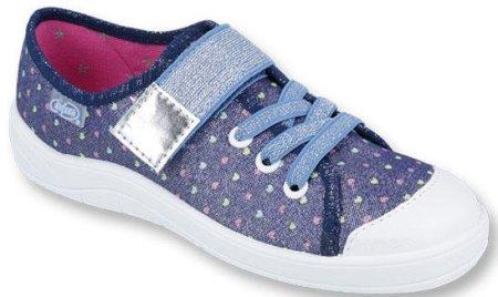 Befado tenisówki dziewczęce w kropki G 31 niebieski jeans