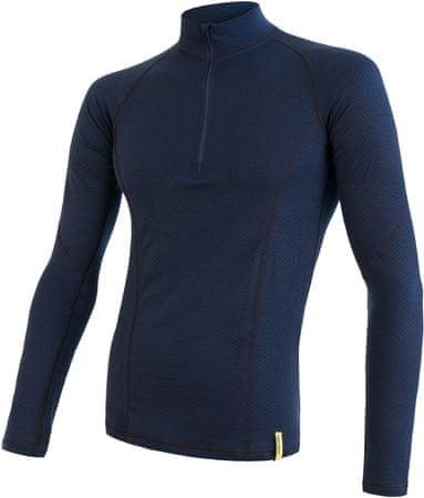 Sensor Merino DF férfi hosszú póló, Zip Deep Blue, L