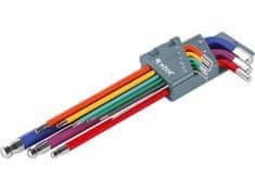 Extol Premium L-klíče imbus prodloužené barevné, sada 9ks, CrV