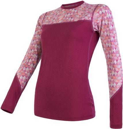 Sensor Merino Impress ženska majica z dolgimi rokavi, Lilla/Pattern, XL