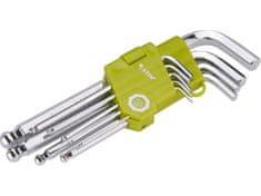 Extol Craft L-klíče imbus, sada 9ks, 1,5-2-2,5-3-4-5-6-8-10mm, s kuličkou