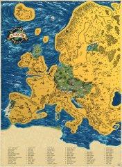 Stírací mapa Evropy Deluxe XL zlatá
