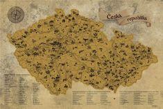 Stírací mapa Česka Deluxe XL zlatá