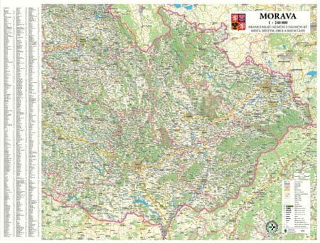 Morava - nástěnná automapa 140 x 100 cm - laminovaná mapa v lištách