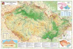 Česká republika - nástěnná obecně zeměpisná mapa 200 x 140 cm