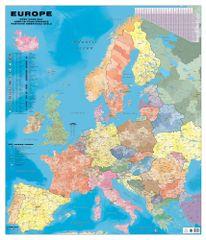 Evropa - nástěnná spediční mapa PSČ 135 x 160 cm