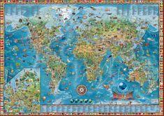 Dětská mapa světa - nástěnná mapa 138 x 98 cm