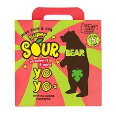 Bear Želé YOYO super kyselé - Jahoda a jablko 5x20 g