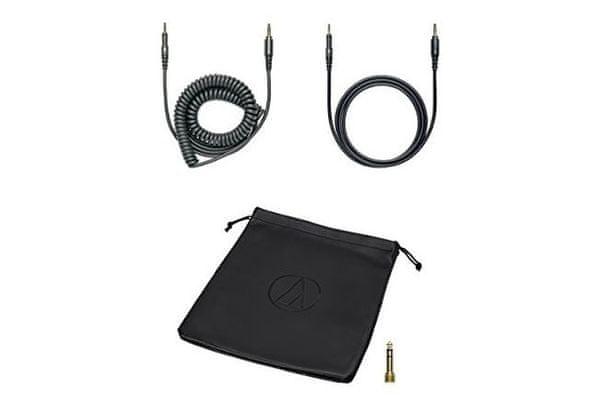 időtlen divatos vezetékes fülhallgató audio-technikai ath-pro5x semleges 40 mm-es váltóval és levehető kábellel a csomagolásban a dj felvételi stúdiókhoz kényelmes magas terheléshez és 6,3mm-es jack adapteres spirális kábellel
