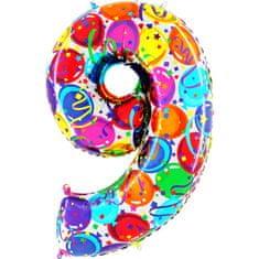 Grabo Nafukovací balónek číslo 9 barevné balónky 102cm extra velký