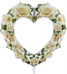 Grabo Nafukovací balónek vykrojené srdce - bílé růže 107 cm