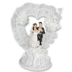 Svatební figurka na dort 1ks srdce plast
