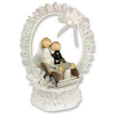 Svatební figurka na dort 1ks svatba v autě 220mm
