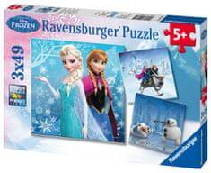 Ravensburger Puzzle 092642 Disney Jégvarázs: kaland a havon 3x49 részes