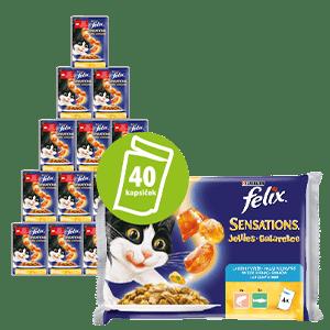 Felix Sensations mačja hrana, z lososom v želeju z okusom rakcev + s polenovko in želejem s paradižnikom 10x (4x 100 g)