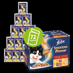 Felix mokra karma dla kota Sensations Sauces 6x(12x100g), zestaw sosów smakowych: z wołowiną, jagnięciną, indykiem i kaczką