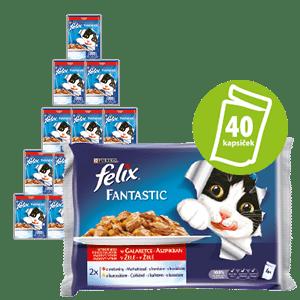 Felix Fantastic húsos válogatás marhafalatokkal és csirkefalatokkal zselében 10x(4x100g)