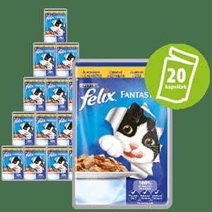 Felix Fantastic vrečka za mačke, piščanec v želeju, 20 x 100 g