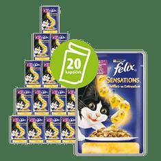 Felix mokra karma dla kota Sensations, saszetki z kaczką i szpinakiem w galarecie 20x100g