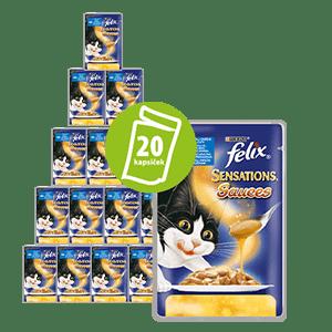 Felix Sensations Sauce Surprise tasak tőkehallal paradicsom ízesítésű szószban 20x100g