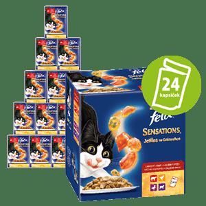 Felix Sensations Jellies hrana za mačke, mesni izbor, 24x 100 g
