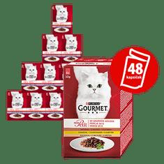 Gourmet hrana za mačke Mon Petit Multipack, 8x (6 x 50 g), s piletinom, pačetinom, puretinom u soku