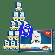 Gourmet hrana za mačke, komadići u umaku, 12 x (4 x 85 g)