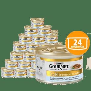 Gourmet Gold s mořskými rybami se špenátem 24 x 85g
