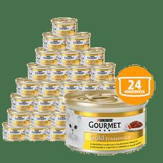 Gourmet mokra karma dla kota Gold z wołowiną i kurczakiem w sosie pomidorowym 24 x 85g