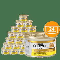 Gourmet mokra karma dla kota Gold Savoury Cake, z kurczakiem i marchewką 24 x 85g