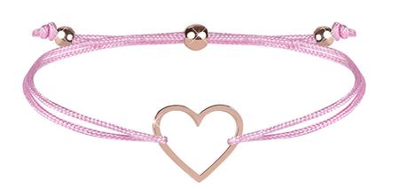 Troli Zapestnica iz vrvice z roza / bronastim srčkom