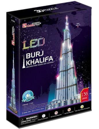CubicFun Puzzle 136 db 3D Puzzle with LED - Burj Khalifa, Dubai - Difficult