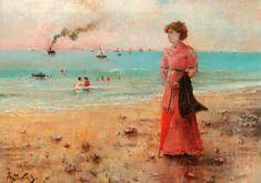 Grafika Puzzle 1000 db Alfred Stevens : Jeune Femme à l'Ombrelle Rouge au