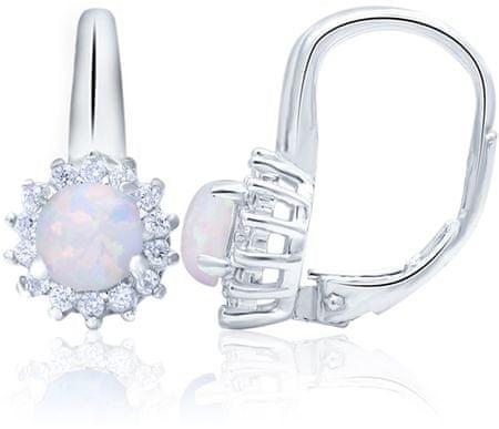 Beneto Srebrni uhani z opalescentnimi kristali AGUC1205 srebro 925/1000