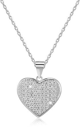 Beneto Srebrna ogrlica s srcem AGS122 / 48 (veriga, obesek) srebro 925/1000