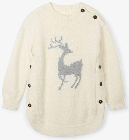 Hatley dekliški pulover z motivom srnice, 92, bel
