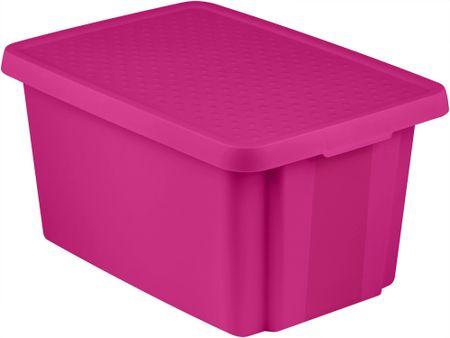 Curver škatla za shranjevanje s pokrovom ESSENTIALS, 45 L, vijolična