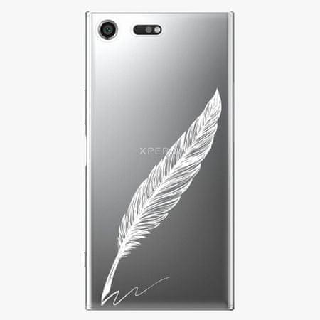 iSaprio Plastový kryt - Writing By Feather - white - Sony Xperia XZ Premium