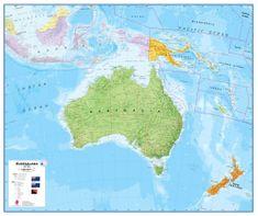 Austrálie a Oceánie - nástěnná politická mapa 120 x 100 cm