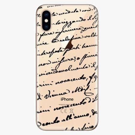 iSaprio Silikonové pouzdro - Handwriting 01 - black - iPhone XS