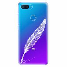 iSaprio Plastový kryt - Writing By Feather - white - Xiaomi Mi 8 Lite