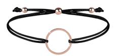 Troli Šňůrkový náramek s kruhem černá/bronzová