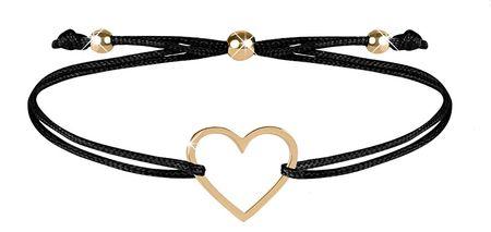 Troli Zapestnica iz črne vrvice s srcem v barvi zlata