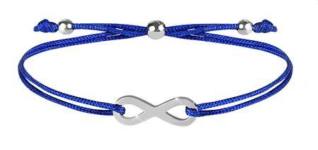 Troli Zapestnica iz vrvice z neskončno modro / jeklo