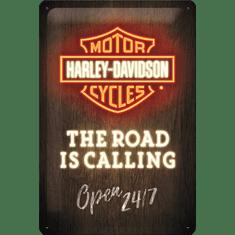 Postershop Plechová cedule Harley-Davidson (The Road is Calling), 30 × 20 cm