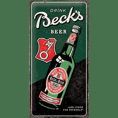 Postershop Plechová cedule Beck's (Drink Beer Bottle), 50 × 25 cm