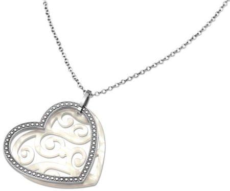 Lotus Style Jeklena ogrlica v obliki srca LS1591-1 / 1