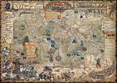 Svět - nástěnná ilustrovaná mapa Piráti 120 x 85 cm