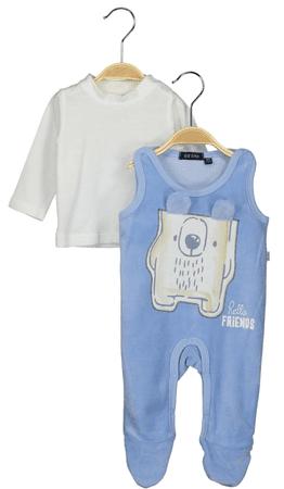 Blue Seven chlapčenský dvojkomplet trička a dupačiek 56 modrá