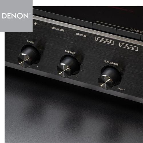 av receiver denon dra-800h hifi stereo síťový přijímač 5 hdmi vstupů 1 hdmi výstup 4k hdmi arc výkon 100 W na kanál Bluetooth phono vstup hi-res audio source direct ab reproduktory auto eco funkce snadné nastavení Bluetooth heos